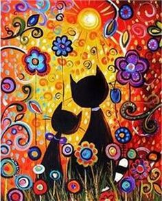 Abstract Cats - Paint by Numbers Kit. Fast Shipping Paint by Number Kit - Abstract Cats Flowers Art Fantaisiste, 5d Diamond Painting, Naive Art, Cat Drawing, Whimsical Art, Diy Painting, Painting Abstract, Garden Painting, Cat Art