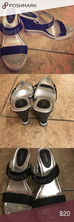 TRENDY GUESS wedges! Barely used!  ADORABLE Guess wedges that would look perfect with skinny jeans and a chic blouse Thanks for looking  Guess Shoes Wedges