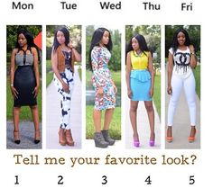 I would rock 1 & 5! Which is your look! #Fashion ❤