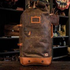 Dakota Vintage Military Duffle Backpack Bag - Waxed Canvas & Leather - Tan