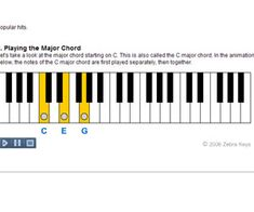 Learn how to construct Major Chords, free piano lessons with Flash demos