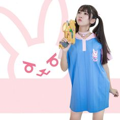 Cute Fashion Clothes Dress on Girly Girl の To Alice.Kawaii Overwatch Dva Rabbit Hood Dress Cute Short T-Shirt Gg475 catches up with the Girly Girl style.Get yourself ready to look fashion.Don't miss it.