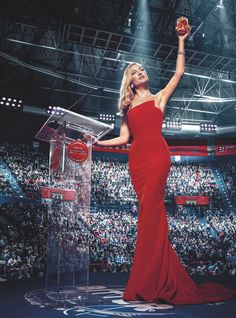 Oscar nominated actress Kate Hudson looks stunning in Romona Keveža opening the coveted Campari 2016 Calendar with in a red strapless silk crepe gown with an asymmetrical bodice and mermaid skirt.