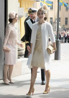 Queen Silvia of Sweden, Crown Princess Mary of Denmark and Crown Prince Haakon of Norway attend the christening of new Swedish heir to the throne Princess Estelle Silvia Ewa Mary of Sweden at The Royal Palace on May 2012 in Stockholm, Sweden. Crown Princess Mary, Royal Princess, Crown Princess Victoria, Princess Photo, Princess Style, Princesa Mary, Princesa Estelle, Beauty And Fashion, Fashion Looks