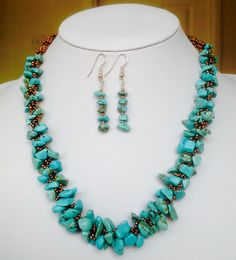 Turquoise chips with bronze seed beads in spiral pattern