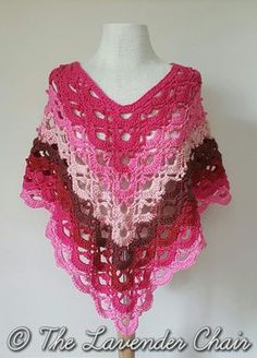 Gemstone Lace Poncho (Adult) - Free Crochet Pattern from The Lavender Chair.
