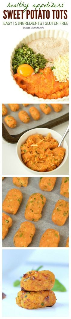 Potato Tots - an healthy appetizer perfect as to create healthy kids lunchbox or healthy party foods for birthdays.Sweet Potato Tots - an healthy appetizer perfect as to create healthy kids lunchbox or healthy party foods for birthdays. Healthy Lunchbox Snacks, Healthy Appetizers, Party Appetizers, Party Snacks, Appetizer Ideas, Appetizer Recipes, Delicious Appetizers, Thanksgiving Appetizers, Diet Snacks