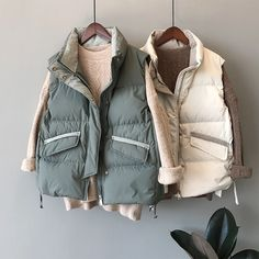 Stand Collar Tie Thick Down Cotton Vest | Down Vest, Puffer Vest, puffer outfit Vest Coat, Vest Jacket, Puffer Vest, Vest Outfits, Chic Outfits, Cotton Vest, Jackets For Women, Winter Jackets, Clothes