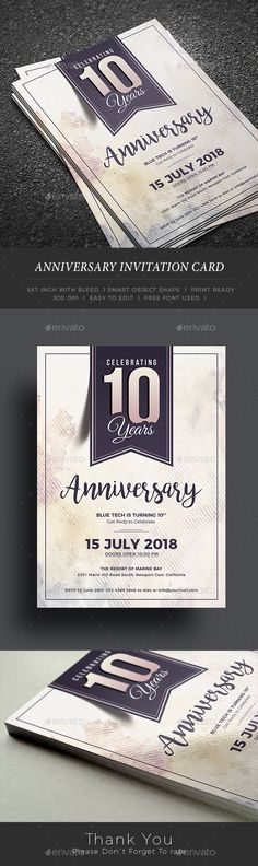 Buy Anniversary Invitation by themedevisers on GraphicRiver. You can use this anniversary template in multipurpose way like corporate ann. Anniversary Cake Designs, Company Anniversary, 30th Anniversary Parties, Happy Anniversary Wishes, Work Anniversary, Anniversary Greeting Cards, Anniversary Invitations, Wedding Anniversary, Corporate Invitation