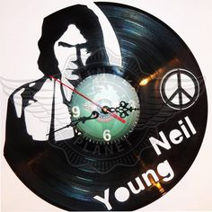DIY NEIL YOUNG Decorative Designed Modern Vinyl Record Wall Clock Silent Large New Bedroom Livingroom Office Decor Analog Universal Decorate your home Best gift for friend, girlfriend or boyfriend , 12 inch Neil Young, Vinyl Cd, Vinyl Records, Wall Clock Silent, Wall Clocks, Record Art, Hello Dear, Lps, Decoration
