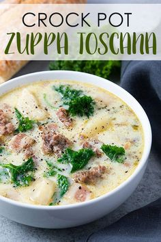 Crock Pot Zuppa Toscana - Let your slow cooker do the work in this easy copycat soup full of sausage, kale, bacon and potatoes! Crock Pot Zuppa Toscana - Let your slow cooker do the work in this easy copycat soup full of sausage, kale, bacon and potatoes! Crock Pot Recipes, Crock Pot Cooking, Slow Cooker Recipes, Cooking Recipes, Healthy Recipes, Healthy Soup, Vegetarian Soup, Crock Pots, Instapot Soup Recipes