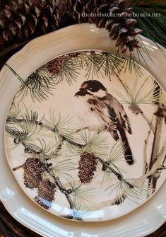 Snowbird salad plates (from Pottery Barn) - Click on link to see Mary's Christmas Bird theme tablescape. (Home is Where the Boat Is)  http://homeiswheretheboatis.net/2014/01/13/winter-nest-feathering-and-giveaway/