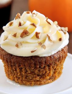 These pumpkin cupcakes are incredibly delicious, super moist and are topped off with cream cheese frosting (with a dairy-free option). Can be made gluten-free, 100% whole grain and with all-purpose flour.