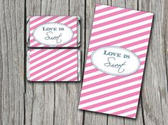Love is Sweet Miniature Candy Bar Wrapper | Pink Navy Blue | Hershey Miniature Chocolate Bar Wrapper | Downloadable Candy Wrapper | Wedding by PaintTheDayDesigns, $7.75