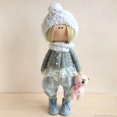 Купить Интерьерная кукла. Малышка с мишкой. - комбинированный, интерьерная кукла, кукла Тильда