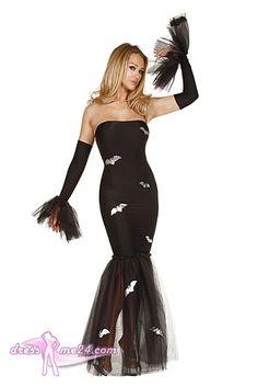 Besuche uns gern auch auf dressme24.com ;-) Halloween Kleid - Madame Fledermaus No.2 - Elegantes, trägerloses Stretch Microfaser Kleid mit silberfarbener Fledermausverzierung und Tüllsaum. Inklusive Armstulpen. #Kostueme, #Halloween, #Hexen