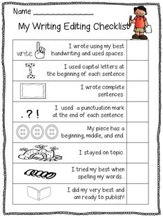 This is part of the free editing set from First Grade Wow. For kindergarten, I use it to show what they can do (smiley face in the check box) and what their newest personal challenge is (I highlight the check box). They keep it in their writing folders. Writing Strategies, Editing Writing, Writing Lessons, Teaching Writing, Writing Skills, Writing Rubrics, First Grade Writing Prompts, Writing Process, Recount Writing