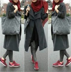 long-grey-coat-with-sneakers- Cute and girly hijab clothing