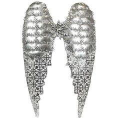 """Arielle 28 1/4"""" High Metal Angel Wings Wall Art ($80) ❤ liked on Polyvore featuring home, home decor, wall art, handmade home decor, metal home decor, angel wing wall art, handmade wall art and metal wall art"""