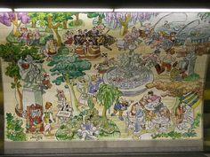 Estación de metro de Retiro donde el alcalde honorario de este parque, según decisión de Tierno Galván, nos dejó varios murales de cerámica colocados en el mismo andén.     En estos murales, realizados en 1987, están juntos y revueltos, fuentes, tunos, esculturas, músicos, niños, amantes, y todos aquellos que nos podemos encontrar un día cualquiera en este parque.