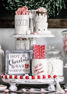 hot chocolate bar White chippy paint two tiered stand. tall, bottom circle and top circle Comes in multiple colors. Three Tiered Stand (c Christmas Hot Chocolate, Hot Chocolate Bars, Christmas Coffee, Noel Christmas, Christmas Crafts, Christmas Feeling, London Christmas, All Things Christmas, Christmas Holiday