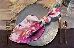 Fall Inspiration with our Renoir Pink & Purple Floral Napkin atop Champagne Voile Table Veil and Plum Linnea full length linen. Celebrations Party Rentals, Winter Table, Renoir, Autumn Inspiration, Linen Fabric, Pink Purple, Floral Design, Napkins, Floral Prints