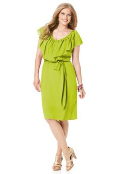 Avenue Plus Size Lime Belted Ruffle Dress $49.99 at OneStopPlus