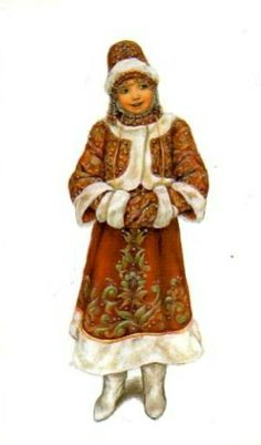 """Russian traditional winter costume,  stylization for the stage. A postcard from the set """"Russian Stage Costume"""", 2005. #art #folk #Russian #costume"""