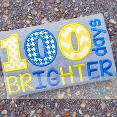 100 Days Brighter 2 Applique - 4 Sizes! | back-to-school | Machine Embroidery Designs | SWAKembroidery.com