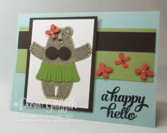Happy Hello Hula BearcardStampin Up Bear Hugs stamp set and Framelits   available in a bundle and save15 percent until May 31 2016  Dawn Griffith SU demonstrator