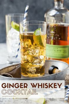 Whiskey Cocktail Recipe Not a whiskey fan? This easy, refreshing, Ginger Whiskey Cocktail recipe might just make you one!Not a whiskey fan? This easy, refreshing, Ginger Whiskey Cocktail recipe might just make you one! Cocktail Ginger Ale, Whiskey And Ginger Ale, Ginger Ale Drinks, Whisky Cocktail, Ginger Beer, Cocktail Drinks, Cocktail Garnish, Mix Drinks, Yummy Drinks