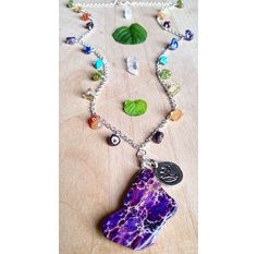 20 Purple Sediment Jasper Necklace & Rainbow by UrbanGypsyGems
