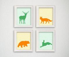 Woodland Nursery Art Forest Animal Nursery by MiaoMiaoDesign, $22.50