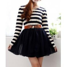 $12.50 Stripe Long Sleeves Color Block Ladylike Style Dress For Women