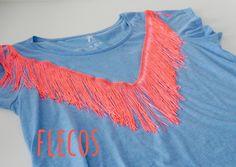pinafili: Decorar una camiseta con flecos. Mes de la camiseta 2º edición.