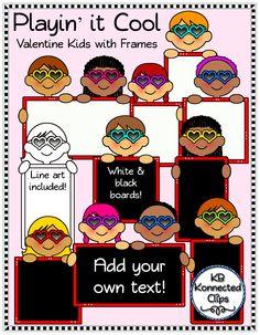 Valentine's Day Kids with Blackboards and Whiteboards $ https://www.teacherspayteachers.com/Product/Valentines-Day-Kids-with-Blackboards-and-Whiteboards-1676800
