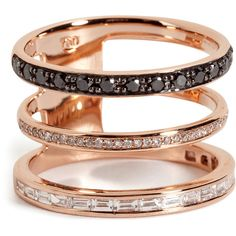 NIKOS KOULIS 18kt Pink Gold Ring with Black and White Diamonds found on Polyvore