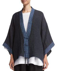 Eskandar Shanghai Two-Tone Jacket, Bateau-Neck Tunic & Flare-Leg Cropped Trousers Look Fashion, Fashion Design, Kimono Jacket, Cropped Trousers, Kimono Fashion, Shibori, Shanghai, Sewing Clothes, My Style