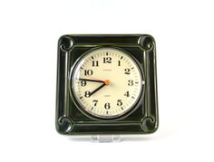 Vintage wall clock West German pottery ceramic emerald dark green Kienzle kitchen office Made in Germany Mid-Century 60s 70s
