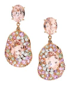 Brumani Panache collection white and rose gold earrings with white and brown diamonds, smoky quartz and multi-coulored sapphires.