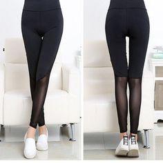 d59c0f69bcdc9 LASPERAL Women Legging Pants Elastic High Waist Mesh Spliced Thin Skinny  Pencil Pant Breathable Gothic Leggins Female Jeggings