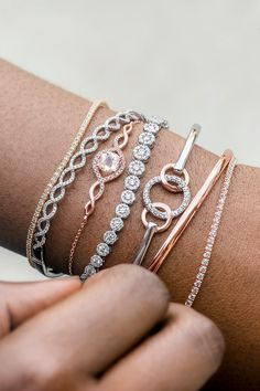 Add stunning sparkle to your outfits with chic accessories like these beautiful fashion bracelets. From sparkling with diamonds and gemstones to simple and classy in rose gold, trendy jewelry accessories like these are perfect complements to your work fashion style or for elegant evening attire.