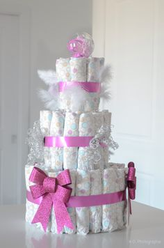 Girly diaper cake for baby shower. So easy. With only 90 first size diapers.