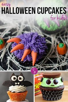 Easy Halloween Cupcakes for Kids: From spooky spiders to googly eyed monsters, tombstones to brains we've got all the cupcake ideas you need for your party!