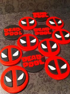 Fondant Deadpool Cupcake Toppers