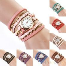 2014 nova moda Hot colorido das mulheres do Vintage relógios Weave envoltório Rivet pulseira de couro de pulso assista 0TR9