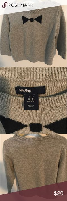 BABY GAP grey cotton sweater 100%cotton - soft - 18-24 months heather grey crew beck sweater with black bow tie design ; long sleeve ; 2 buttons at neckline GAP Shirts & Tops Sweaters