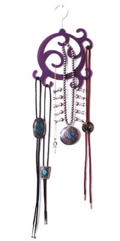 Scarf Hanger/holder - Jewelry Hanger/holder By Benevita(TM) - Elegant Royal Purple Flocked Velvet Accessories Organizer - No Snagging and No Slipping-ever! Display and Have Access to Your Exquisite and Expensive Scarves and Fashion Accessories - Eye-catching Hanging Jewelry Organizer for Your Necklaces, Beads, Pendants, Chains - And, for Men - Bolos, Ties and Belts. Amazing Versatility As Wall Hanger - Back-of-door Accessory - Closet Space-saving Hanger - Even Use As a Display Holder for…