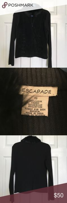 Brand new black jacket Brand new Escapade black suede leather and cotton jacket. Collar rabbit fur on the buttons. Escapade Jackets & Coats