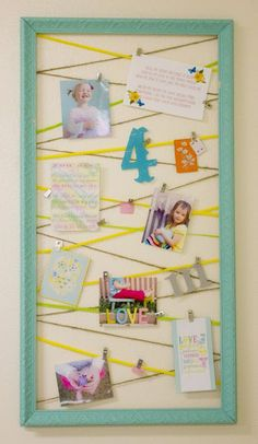 great way to showcase special things in a room. Add magnets and use for the side of the fridge :) Guest Room Decor, Diy Wall Decor, Girl Nursery, Nursery Decor, Stairway Pictures, Boy Room, Kids Room, Diy Photo, Cool Diy